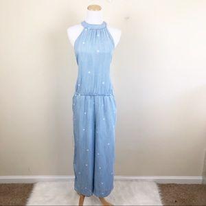 Cloth & Stone Chambray Polk-Dot Jumpsuit